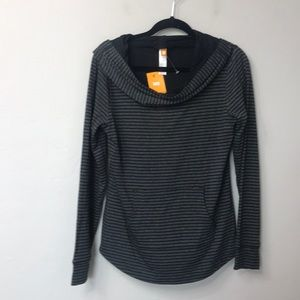 Lucy Black and grey striped energize hoodie. M